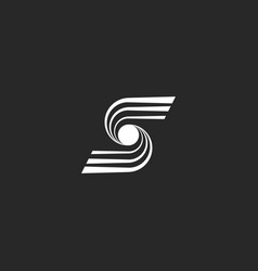 letter s logo modern monogram converging lines vector image vector image