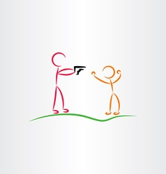 man pointing gun killer icon vector image vector image