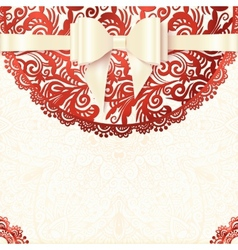 White and red vintage lacy wedding card vector image vector image