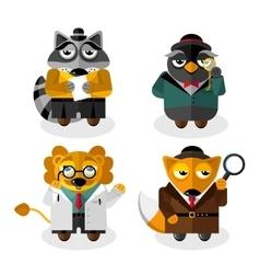 Animal professions cartoon characters set vector image vector image