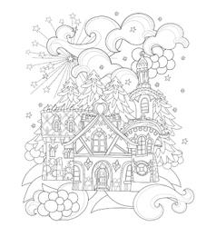 cute christmas fairy tale town doodle vector image