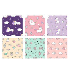 cute seamless patterns with unicorn and love vector image