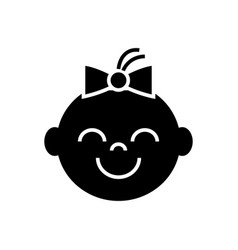 happy girl face icon black vector image