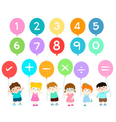 happy kids with numbers balloons vector image