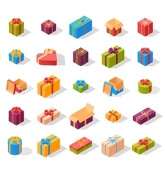 Isometric gift box set vector image