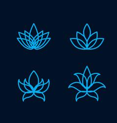 lotus flower icon set vector image vector image