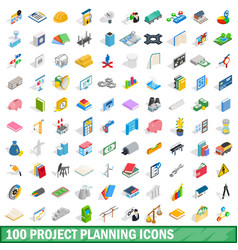 100 project planning icons set isometric 3d style vector