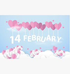 14 february hanging with pink heart balloons vector image vector image