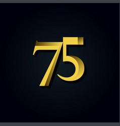 75 years anniversary gold number template design vector