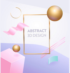 abstract geometric figure frame 3d banner vector image
