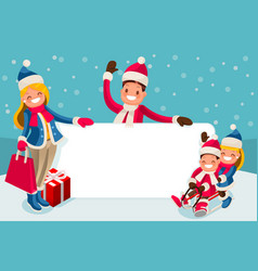 Advertise family winter sale vector