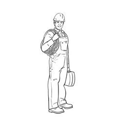 An electrical worker in overalls and a helmet vector