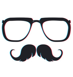 anaglyph effect on glasses and moustache vector image