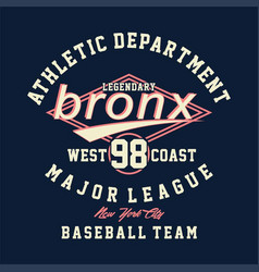 Athletic department legendary bronx vector