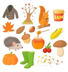 Autumn icons set in cartoon style vector image