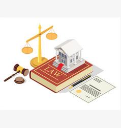 Bank regulation law flat isometric vector