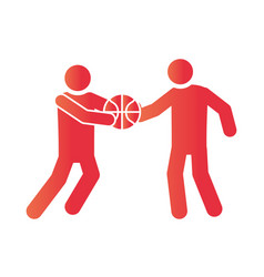 basketball game players with ball recreation vector image
