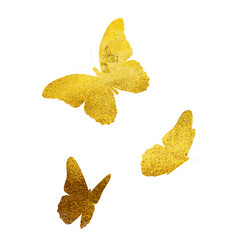 beautifil butterfly golden glitter silhouette vector image