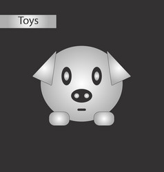 black and white style toy pig vector image