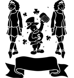 Black silhouettes of two irish girls and vector