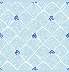 blue abstract pattern with flowers vector image