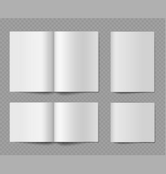 booklet mockup open and closed horizontal empty vector image