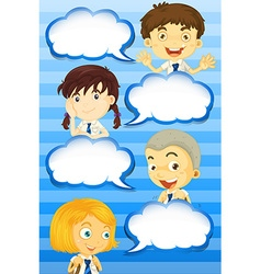 Boys and girls with speech bubbles vector