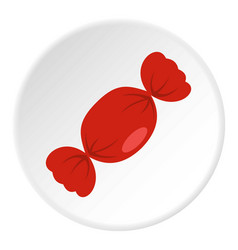 Candy in red wrap icon circle vector