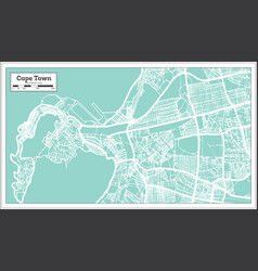 cape town south africa city map in retro style vector image