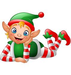 Cartoon elf lying on the floor vector