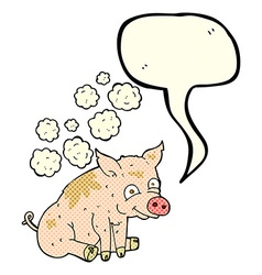cartoon smelly pig with speech bubble vector image