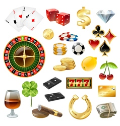 Casino Equipment Symbols Accessories Glossy Set vector image vector image