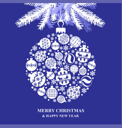 christmas greeting card with baubles ball vector image