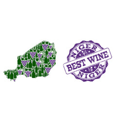Composition of grape wine map of niger and best vector