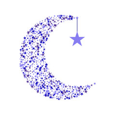 crescent decorated with stars vector image
