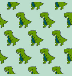 Cute 90s dinosaurs green seamless pattern vector