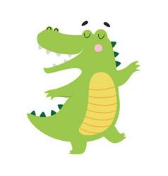 Cute happy smiling crocodile funny alligator vector