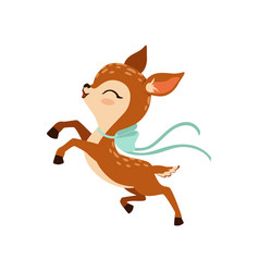 Cute little fawn character with bow on his neck vector