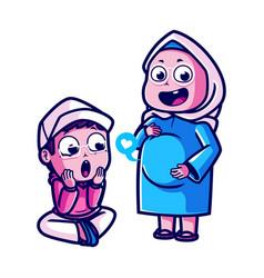 Cute muslim couple pregnancy cartoon vector