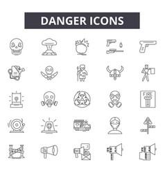 danger line icons signs set outline vector image