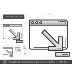 Download app line icon vector image