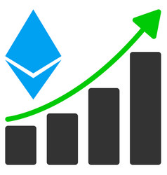 ethereum growth trend flat icon vector image