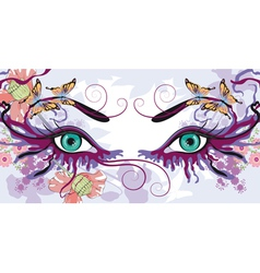 eyes with floral designs vector image