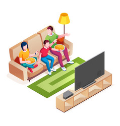 family on sofa watch television or tv show movie vector image