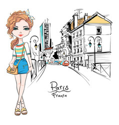 Fashion girl in summer clothes in paris vector