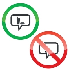 Fast food message permission signs vector