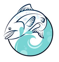 fish on the waves vector image