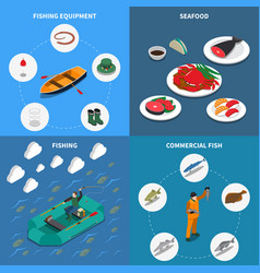 Fishing concept icons set vector