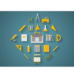 Flat icons for school supplies vector image