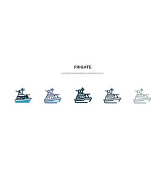 Frigate icon in different style two colored and vector